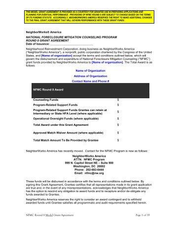 Model Grant Agreement - NeighborWorks America