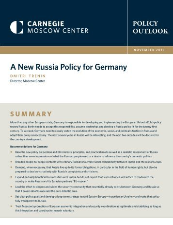 A New Russia Policy for Germany - Carnegie Endowment for ...