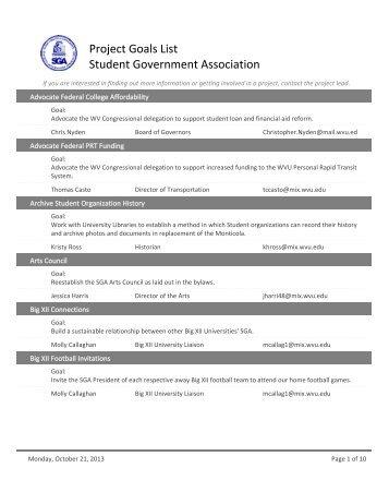 Public Projects List - West Virginia University