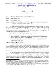 memorandum - House Committee on Financial Services - House of ...