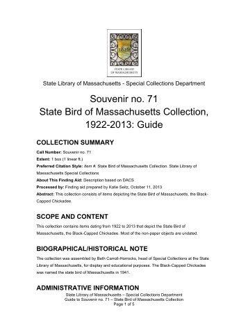 Souvenir no. 71 State Bird of Massachusetts Collection, 1922-2013 ...
