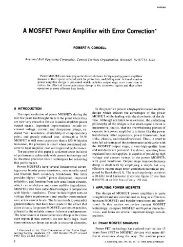 A MOSFETPowerAmplifier with Error Correction*