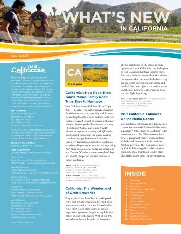 What's New in CA Summer 2013 - Industry - Visit California