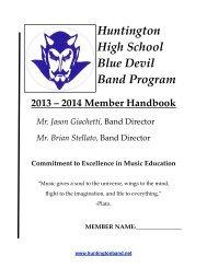 Blue Devil Band Handbook - Huntington Union Free School District