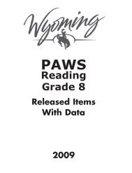 2009 Grade 8 Reading Released Items - Wyoming Department of ...