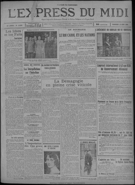 13 JUIN 1930 - Bibliothèque de Toulouse