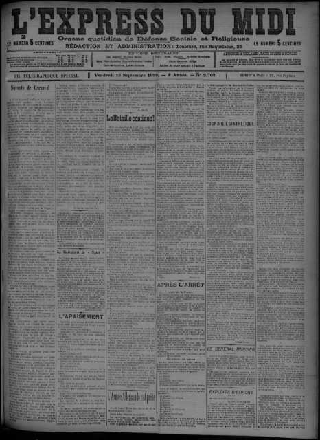 Vendredi 1S Septembre 1899. - Bibliothèque de Toulouse