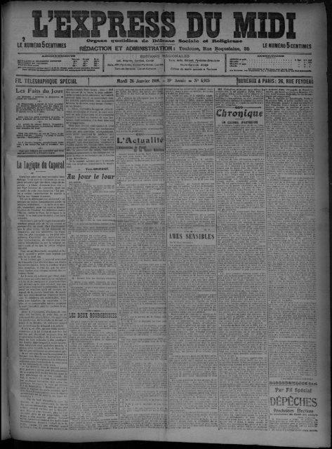 26 Janvier 1909 - Presse régionale - Mairie de Toulouse