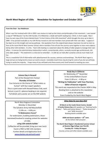 North West Region of U3As Newsletter for ... - u3asitec.org.uk