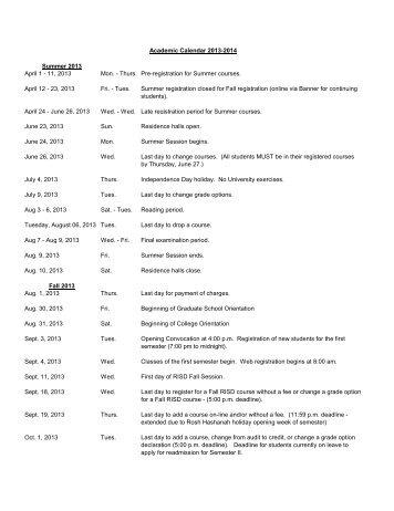 Summer 2013 April 1 - 11, 2013 Mon. - Thurs. Pre-registration for ...