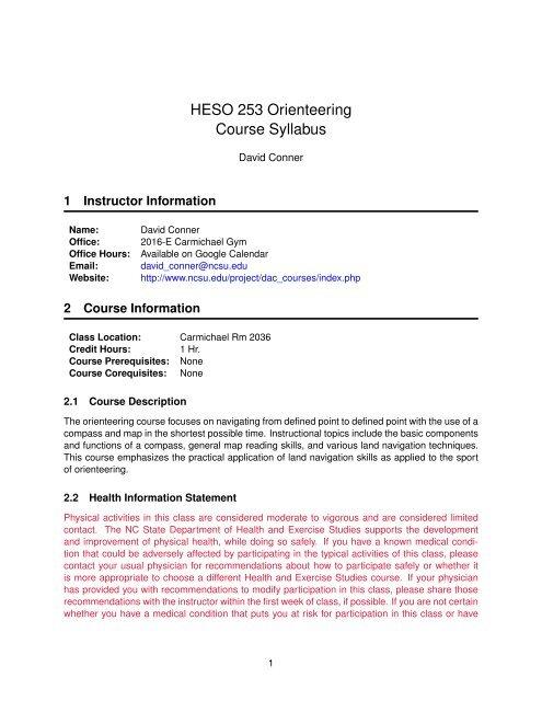 Ncsu Academic Calendar.Heso 253 Orienteering Course Syllabus