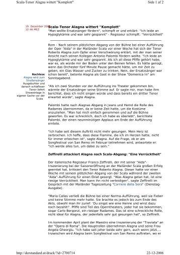 """Side 1 af 2 Scala-Tenor Alagna wittert """"Komplott"""" 22-12-2006 http ..."""