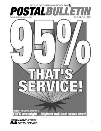 Postal Bulletin 22099 - April 3, 2003 - USPS.com