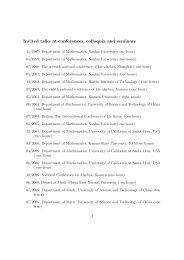 Invited talks at conferences, colloquia and seminars