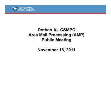 Dothan AL CSMPC Area Mail Processing (AMP) Public ... - USPS.com