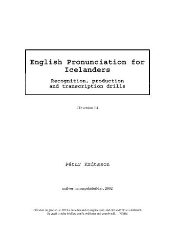 English Pronunciation for Icelanders