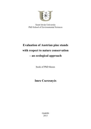 Evaluation of Austrian pine stands with respect to nature conservation