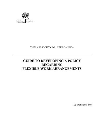 Guide to Developing a Policy Regarding Flexible Work Arrangements