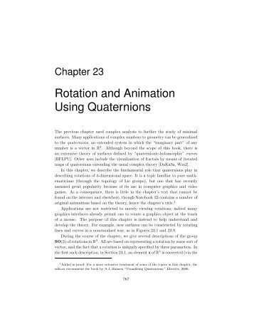 Rotation and Animation Using Quaternions