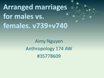 Arranged marriages for males vs. females. v739+v740