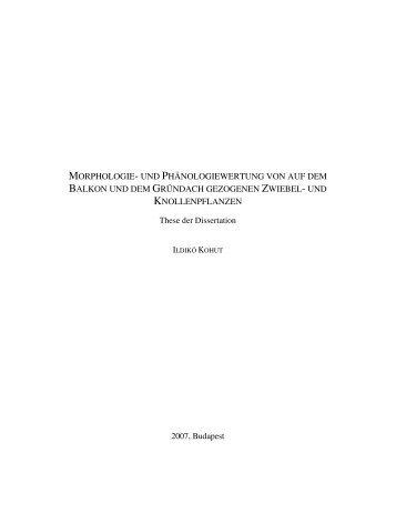 morphologie- und phänologiewertung von auf dem balkon und dem ...