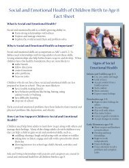 Social and Emotional Health of Children Birth to ... - State of Michigan