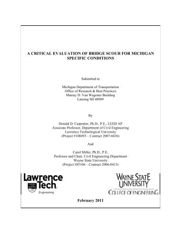 RC-1547 - A Critical Evaluation of Bridge Scour ... - State of Michigan