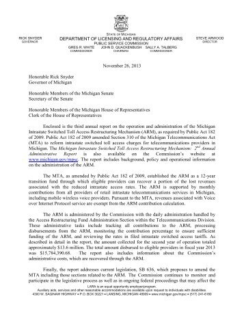 November 26, 2013 Honorable Rick Snyder ... - State of Michigan