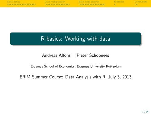 R basics: Working with data