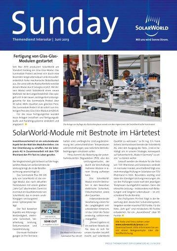 SolarWorldModule mit Bestnote im Härtetest - SolarWorld AG