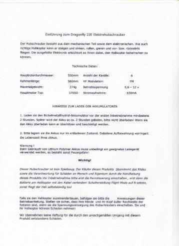 Einführung zum Dragonfly 22E Elektrohubschrauber - Hostarea.de