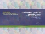 Prove Fermat's theorem by expanding via the ... - Cs.ioc.ee