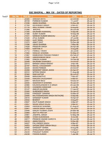 SSC BHOPAL - IMA 130 - DATES OF REPORTING - Indian Army