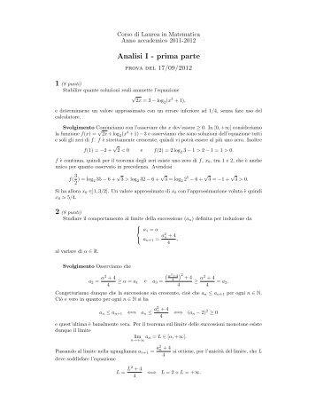 17/09 - Dipartimento di Matematica e Informatica