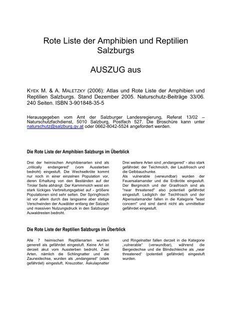 Rote Liste der Amphibien und Reptilien Salzburgs