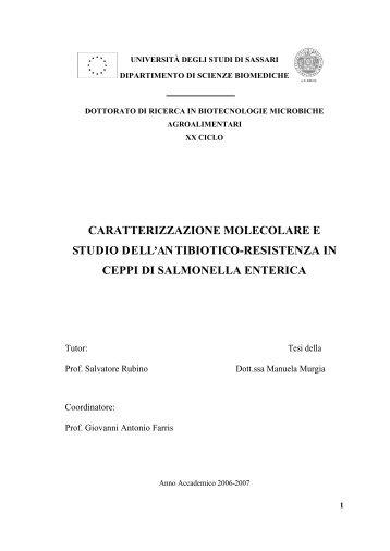 caratterizzazione molecolare e studio dell - Università degli Studi di ...
