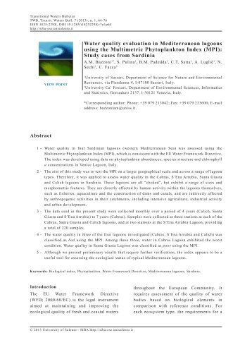 Water quality evaluation in Mediterranean lagoons using the ...