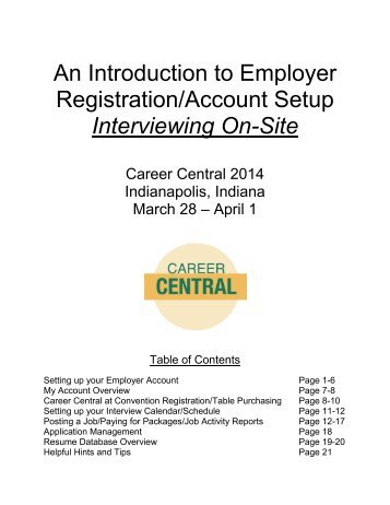Employer Guide to Career Central – Interviewing On Site