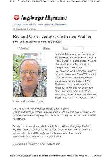 Richard Groer verlässt die Freien Wähler - Fw-illertissen.de