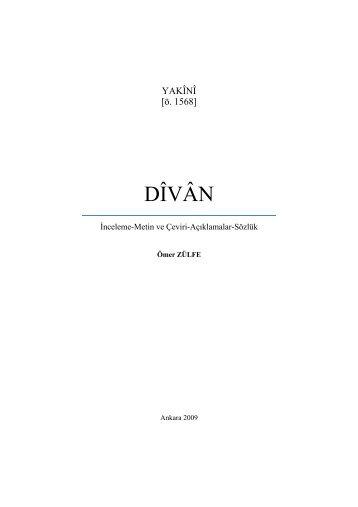DÎVÂN - e-Kitap - Kültür ve Turizm Bakanlığı