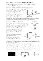 Physik – Übung * Jahrgangsstufe 10 * Versuche mit Dioden