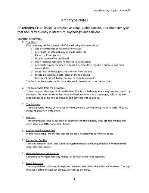 Archetype Notes pdf
