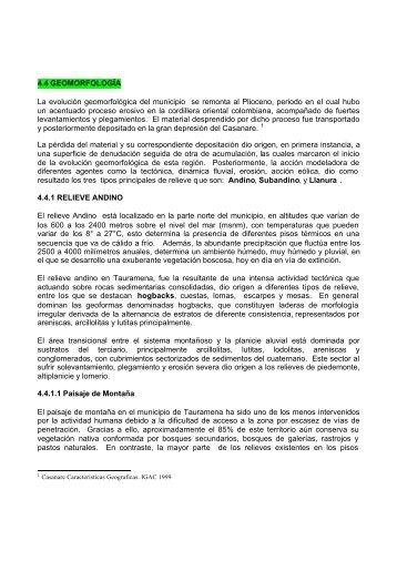EOT - Tauramena - Casanare - Geomorfología (5 ... - CDIM - ESAP
