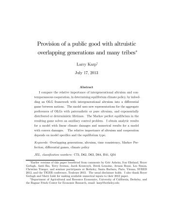 Provision of a public good with altruistic overlapping generations ...