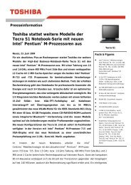 Toshiba stattet weitere Modelle der Tecra S1 Notebook-Serie mit ...