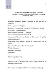 20 Session of the UNWTO General Assembly Secretary General ...