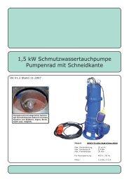 1,5 kW Schmutzwassertauchpumpe Pumpenrad mit ... - Rotek