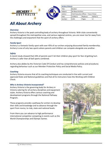 """""""All About Archery"""" booklet"""