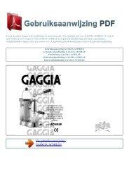 Gebruiksaanwijzing GAGGIA ACHILLE - GEBRUIKSAANWIJZING PDF