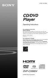 CD/DVD Player - Manuals, Specs & Warranty - Sony